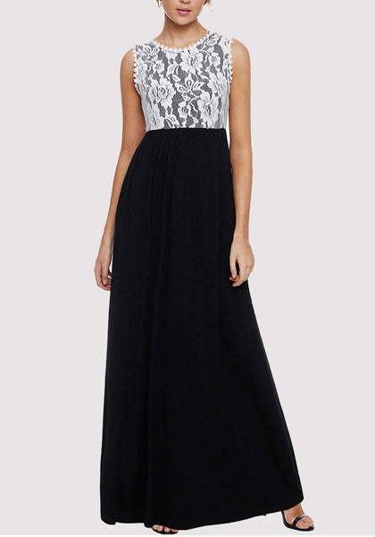 Black Lace Pockets High Waisted Banquet Elegant Party Maxi Dress