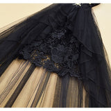 Black Patchwork Lace Grenadine Beading Peplum Deep V Sleeveless Maxi Dress