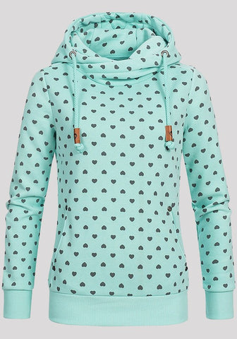 Light Green Love Print Badge Drawstring Pockets Long Sleeve Hooded Sweatshirt