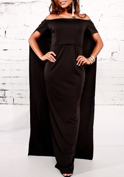 Black Off Shoulder High Split Plus Size Cape Clubwear Prom Evening Party Maxi Dress