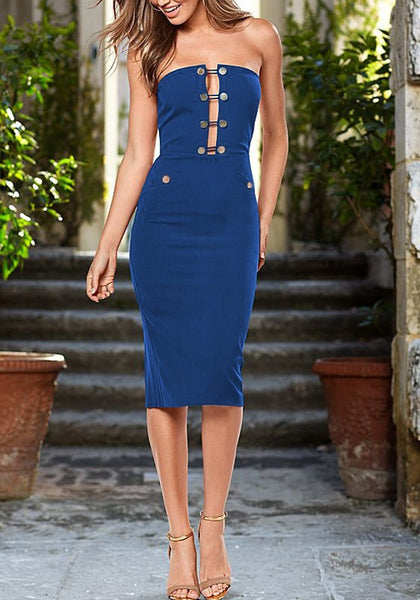 Blue Plain Bandeau Studded Zipper Fashion Midi Dress
