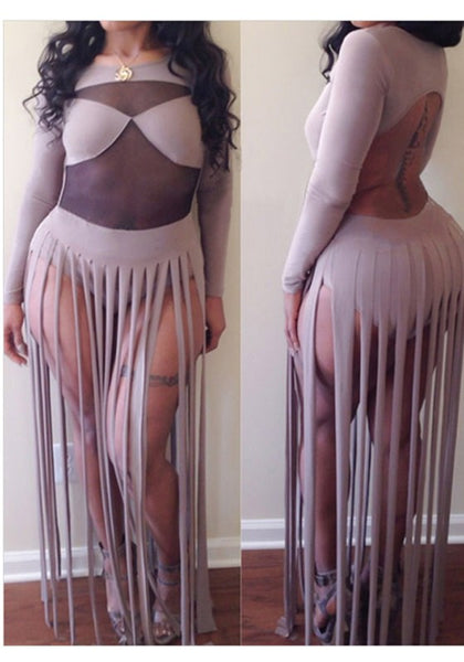 Light Purple Patchwork Grenadine Tassel Backless See-through Club Maxi Dress