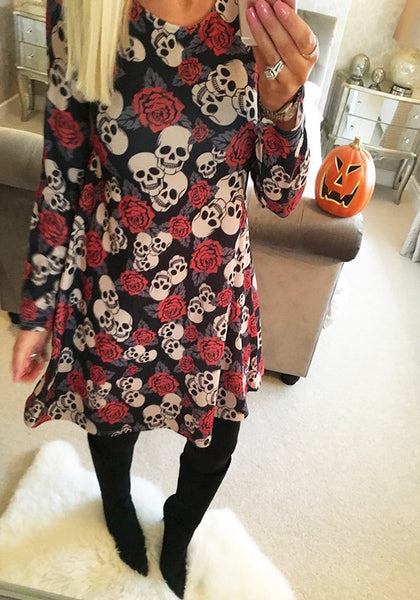 Red Skull Floral Print Round Neck Sweet Midi Dress