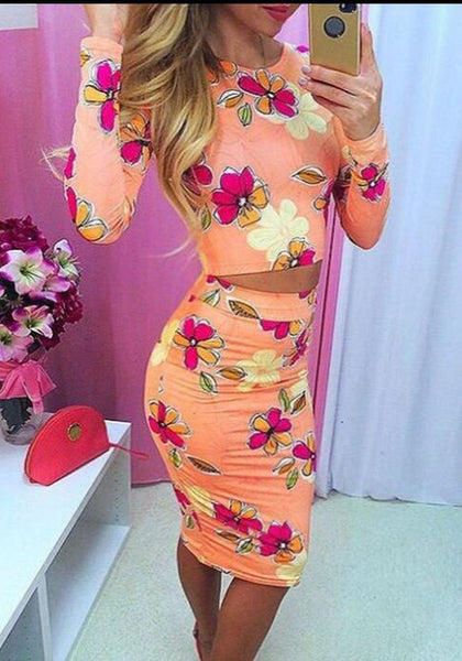 Orange Floral Print 2-in-1 Round Neck Fashion Midi Dress