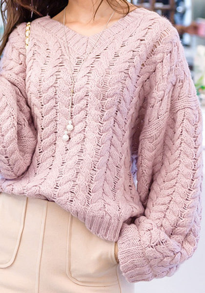 Pink Round Neck Dolman Sleeve Long Sleeve Pullover Sweater