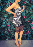 Black Patchwork Floral Print Lace Hollow-out Spaghetti Straps Bodycon Homecoming Midi Dress