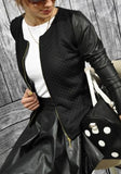 Black Patchwork PU Leather Zipper Round Neck Long Sleeve Fashion Jacket