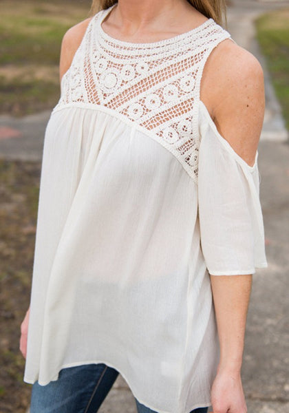 White Patchwork Cut Out Lace Hollow-out Round Neck Blouse