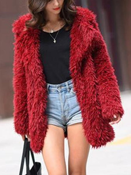 Red Faux Fur Pockets Turndown Collar Long Sleeve Coat