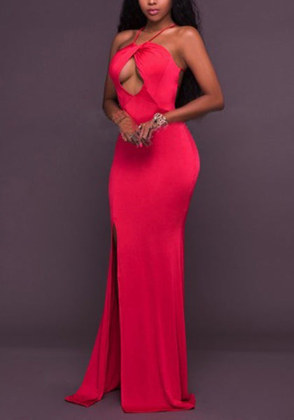 Red Cut Out Side Slit Backless Halter Neck Mermaid Party Maxi Dress