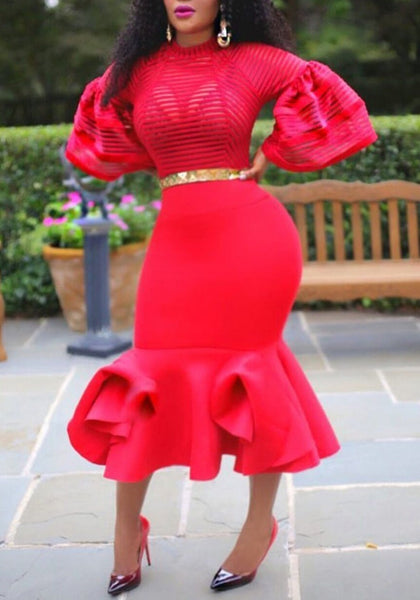 Red Grenadine Ruffle Mermaid Banquet For Wedding Bodycon Elegant Party Maxi Dress