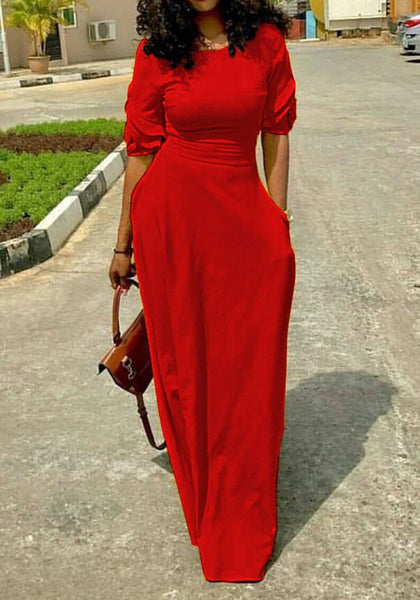 Red Draped Pockets Round Neck Elbow Sleeve Casual Boho Christmas Maxi Dress