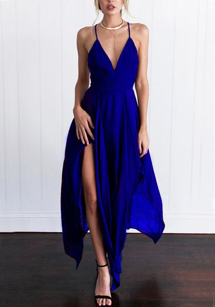 Blue Irregular Back Cross Spaghetti Strap Flowy Deep V-neck Bohemian Party Maxi Dress