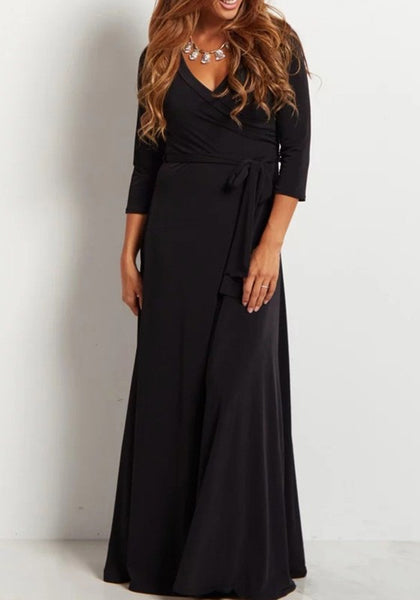 Black Draped Sashes V-neck 3/4 Sleeve Elegant Prom Evening Party Maxi Dress