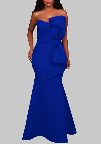 Blue Draped Bow Off Shoulder Backless Mermaid Banquet Elegant Party Maxi Dress