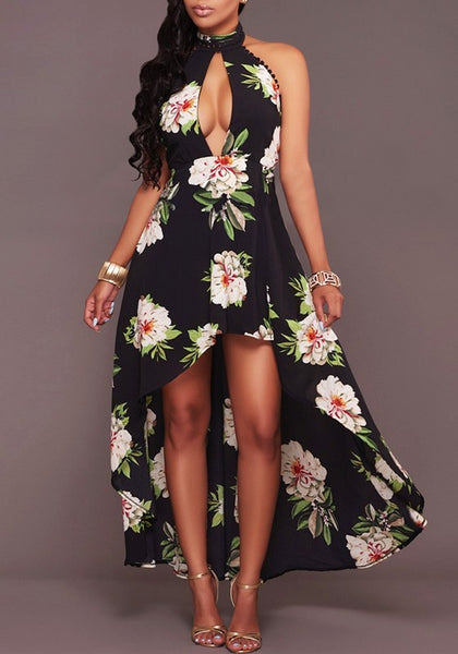 Black Flowers Irregular Pleated High-low Beach Halter Neck Backless Bohemian Party Maxi Dress