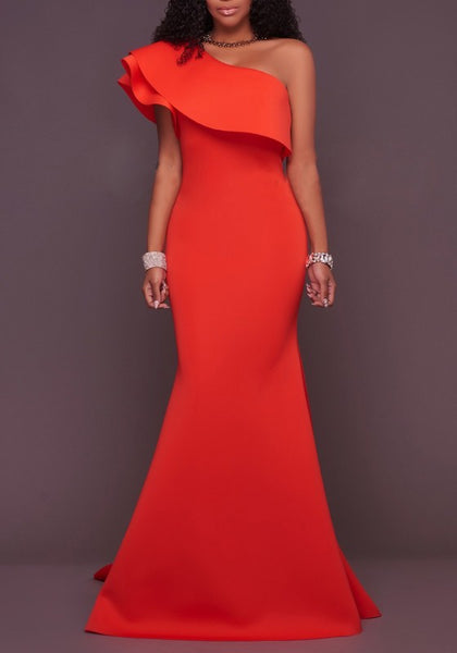 Red Asymmetric Shoulder Ruffle Backless Mermaid Homecoming Party Maxi Dress