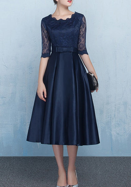 Navy Blue Patchwork Lace Bow Pleated Round Neck Midi Dress