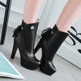 Black Round Toe Chunky Rhinestone Lace-up Casual Boots
