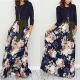 Dark Blue Patchwork Floral Print Belt Long Sleeve Fashion Maxi Dress