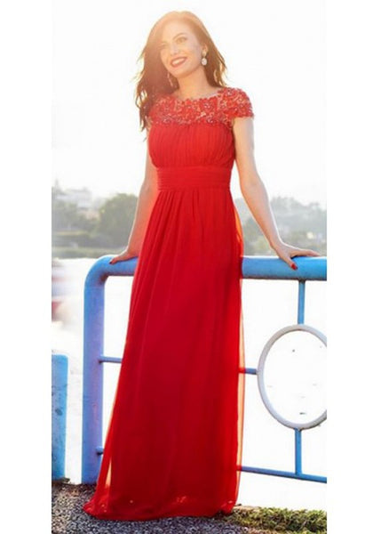Red Pleated Lace Bodycon Banquet Elegant Party Chiffon Maxi Dress
