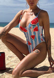 Blue Striped Watermelon Print Spaghetti Strap One Piece Deep U-neck Beachwear Swimwear