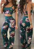 Green Floral Print Backless Two Piece High Waisted Wide Leg Long Jumpsuit
