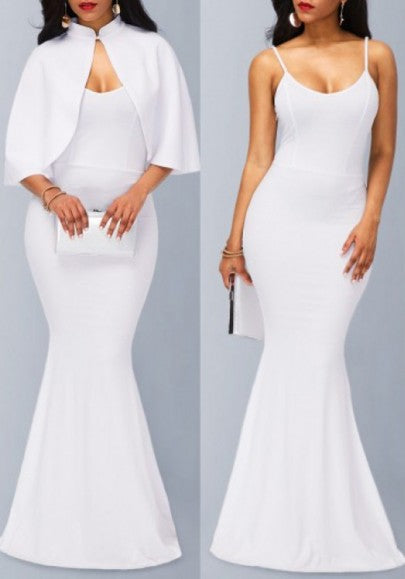 White Mermaid Spaghetti Straps Cape Two Piece Party Elegant Maxi Dress