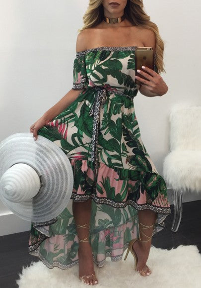 Green Floral Print Irregular Sashes Boat Neck Elbow Sleeve Bohemian Beach Maxi Dress