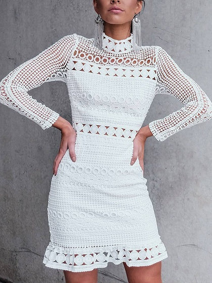 White High Neck Cut Out Detail Long Sleeve Lace Mini Dress
