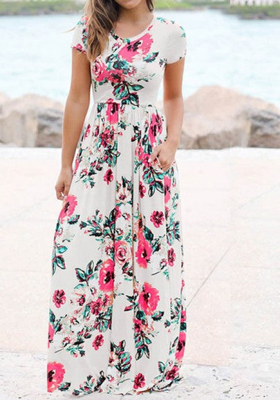 White Floral Round Neck Draped Short Sleeve Floor Length Casual Maxi Dress