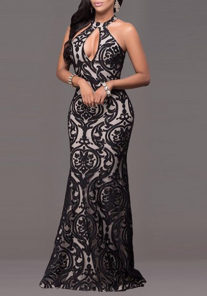 Black Floral Lace Cut Out Halter Neck Off Shoulder Prom Party Maxi Dress