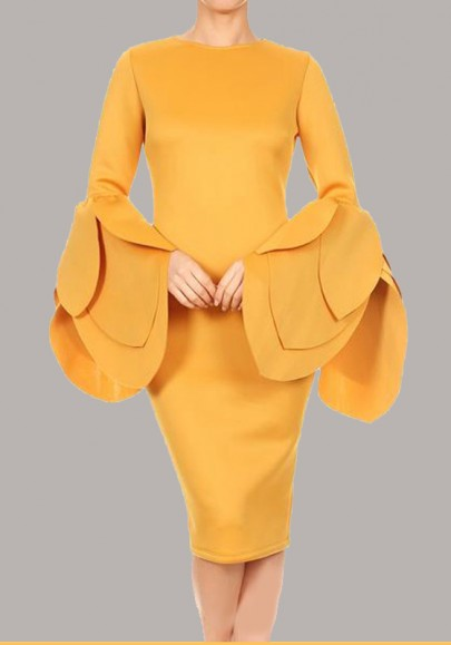 Yellow Ruffle Petal Sleeve Round Neck Elegant Bodycon Prom Evening Party Midi Dress