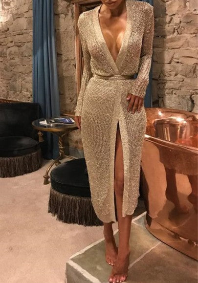 Rose Gold Sashes Cardigan Knit Slit Elegant Party Midi Dress