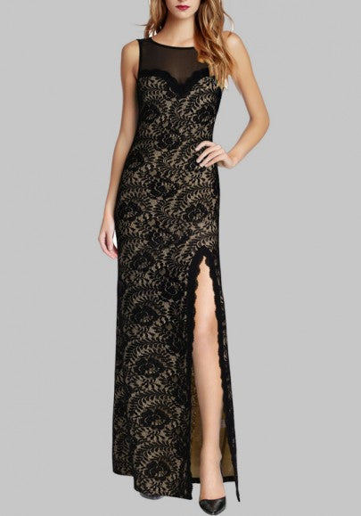 Black Patchwork Lace Grenadine Backless Round Neck Sleeveless Elegant Maxi Dress