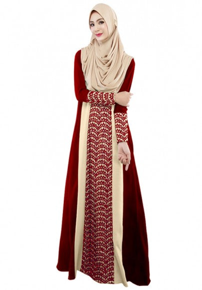 Red Patchwork Muslim Style Arabia Robe Hooded Long Sleeve Maxi Abaya Dress