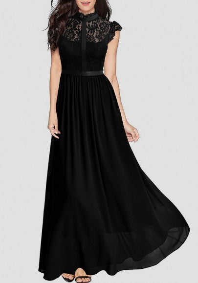 Black Patchwork Lace Zipper Draped Elegant Cocktail Party Chiffon Maxi Dress