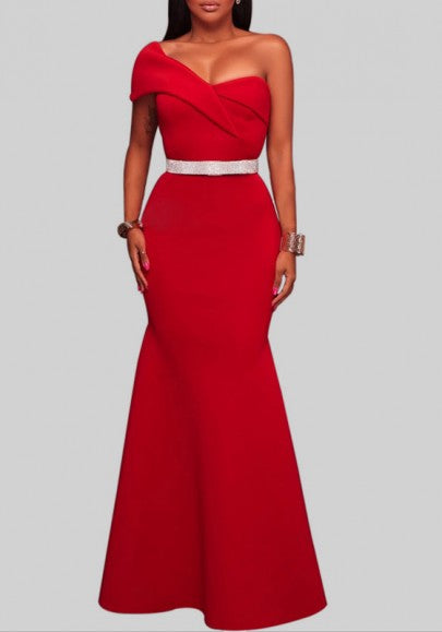 Red Irregular Asymmetric Shoulder Short Sleeve Fashion Maxi Dress