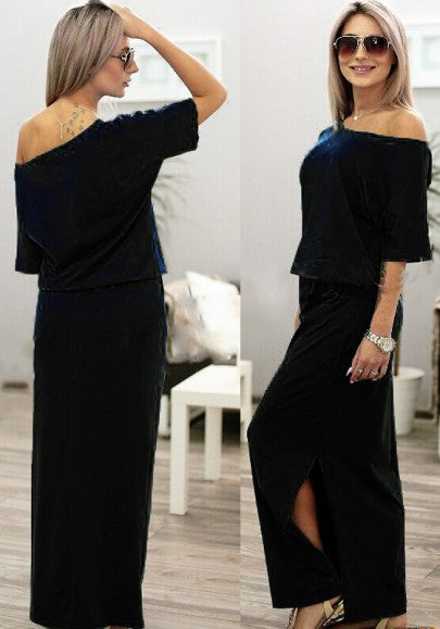 Black Plain Pockets Side Slit Round Neck Maxi Dress