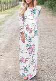 White Floral Pattern Draped Long Sleeve High Waisted Bohemian Beach Maxi Dress