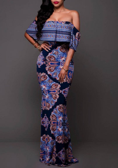 Navy Blue Flowers Print Backless Draped Ruffle Off Shoulder Bohemian Maxi Dress