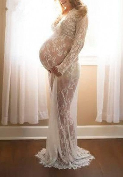 White Floral Lace Hollow-out See-through Plus Size Maternity Maxi Dress