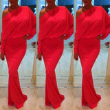 Red Plain Asymmetric Shoulder Long Sleeve Maxi Dress