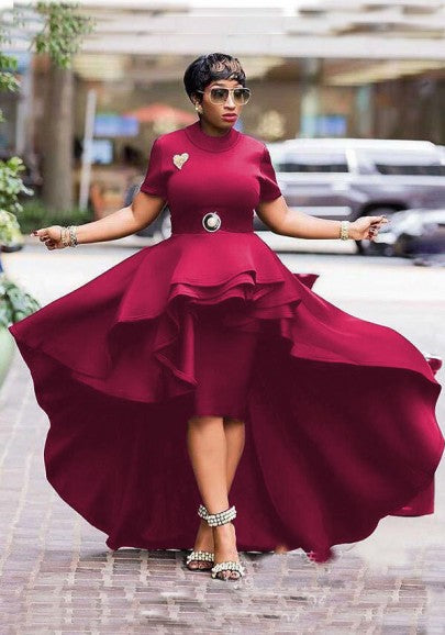 Burgundy Ruffle Pleated Swallowtail High-Low Banquet Elegant New Year Eve Party Maxi Dress