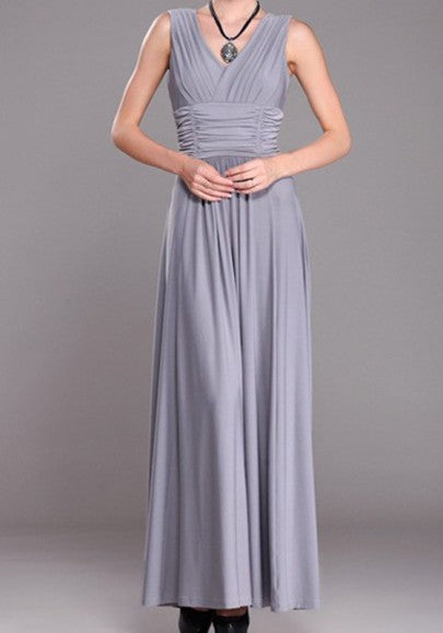Grey Draped V-neck Plus Size Backless Elegant Party Maxi Dress