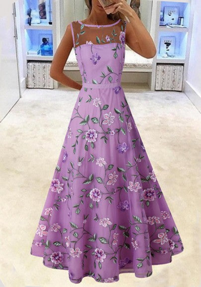 Purple Flowers Grenadine Embroidery Pleated Tutu Elegant Party Maxi Dress