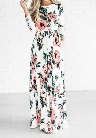 White Floral Draped Round Neck Long Sleeve Bohemian Maxi Dress