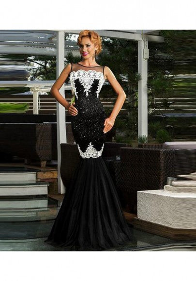 Black Patchwork Lace Sequin Grenadine Double-deck Backless Mermaid Maxi Dress