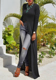 Black Plain Irregular Draped High Slit Long Sleeve Casual Maxi Dress