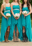Lake Blue Patchwork Appliques Bandeau Draped High-low Bridesmaid Maxi Dress